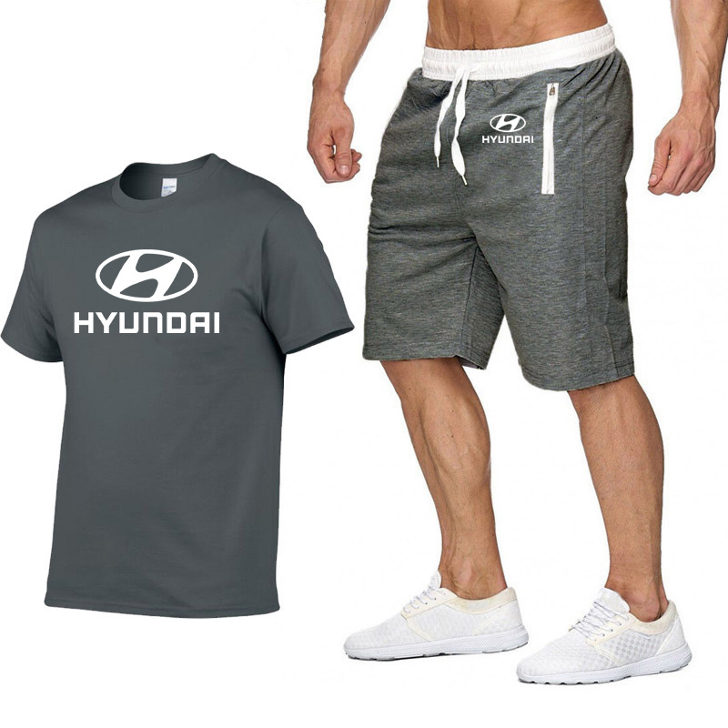 Mens Short Sleeve Hyundai Motor Car Logo Casual Summer Mens T Shirt Hip Hop TShirt High Quality Cotton T Shirts Pants Suit 2Pcs