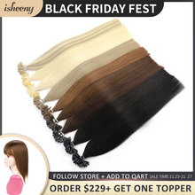 """Isheeny 12"""" 14"""" 18"""" 22"""" Fusion Hair Extensions Blonde Nail U Tip Pre Bonding Human Hair On Capsuel Europen Natural Remy Straight"""