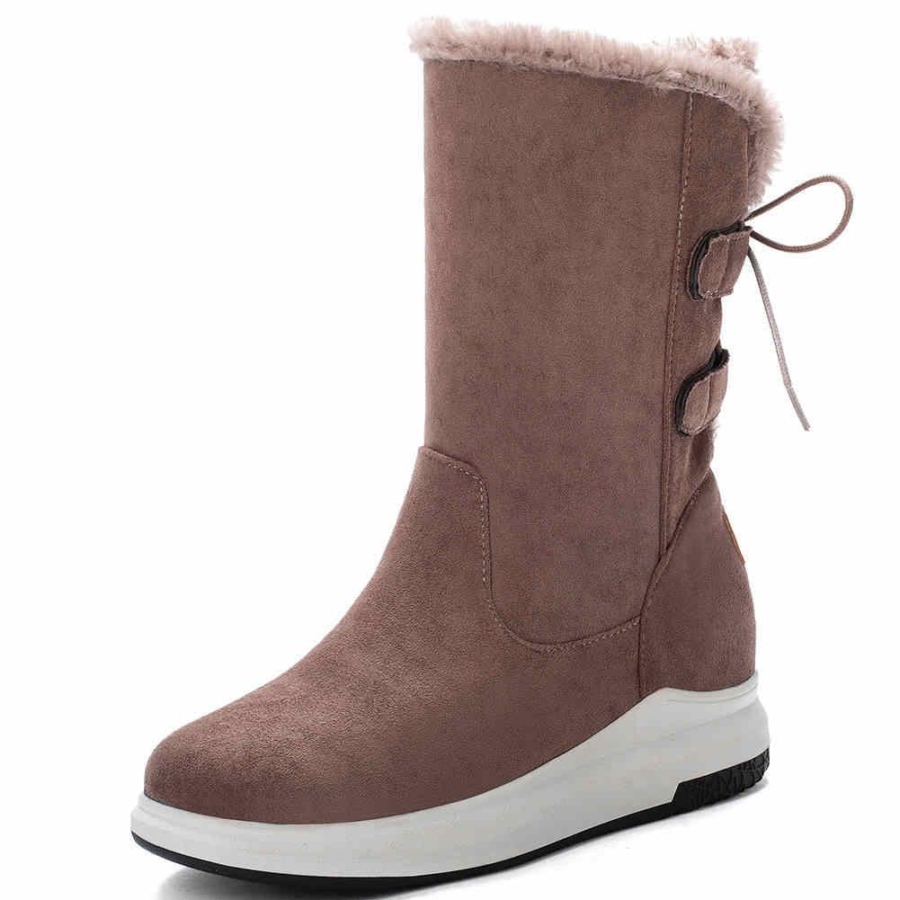 KARINLUNA ใหม่ยี่ห้อ Lady 2020 Elegant Lace Up MED ส้นหนาขน Snowboots ผู้หญิงกลางลูกวัวฤดูหนาวรองเท้าผู้หญิง