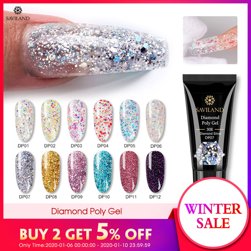 SAVILAND Color Diamond Polygel Glitter UV Nail Gel Builder Gel Acrylic Soak Off Camouflage Fast Nail Extension Poly Gel Nail Art