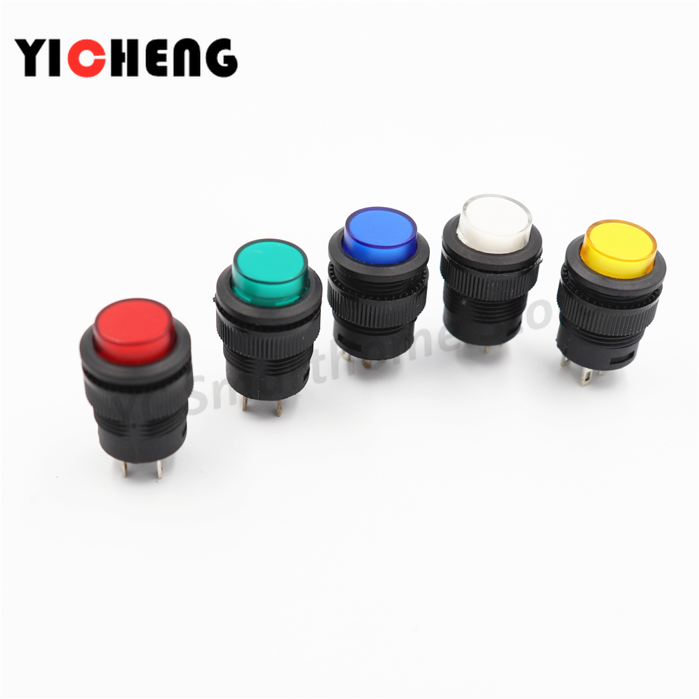 5Pcs R16-503 Key Button Switch With Light Jog Reset Self-locking Switch Round 4 Pin 2 Pin 16MM With Light  LED 3V