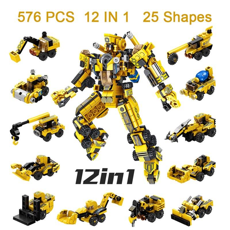 576 pçs menino crianças blocos de construção conjunto caminhão carro brinquedos crianças robô tijolos legoinglys brinquedos educativos mini engenharia veículo