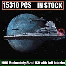 Новинка 15310 шт MOC-9018 имперский Звездный Разрушитель среднего размера ISD Полный Интерьер Fit Legoings Звездные войны Строительный блок кирпичная игрушка