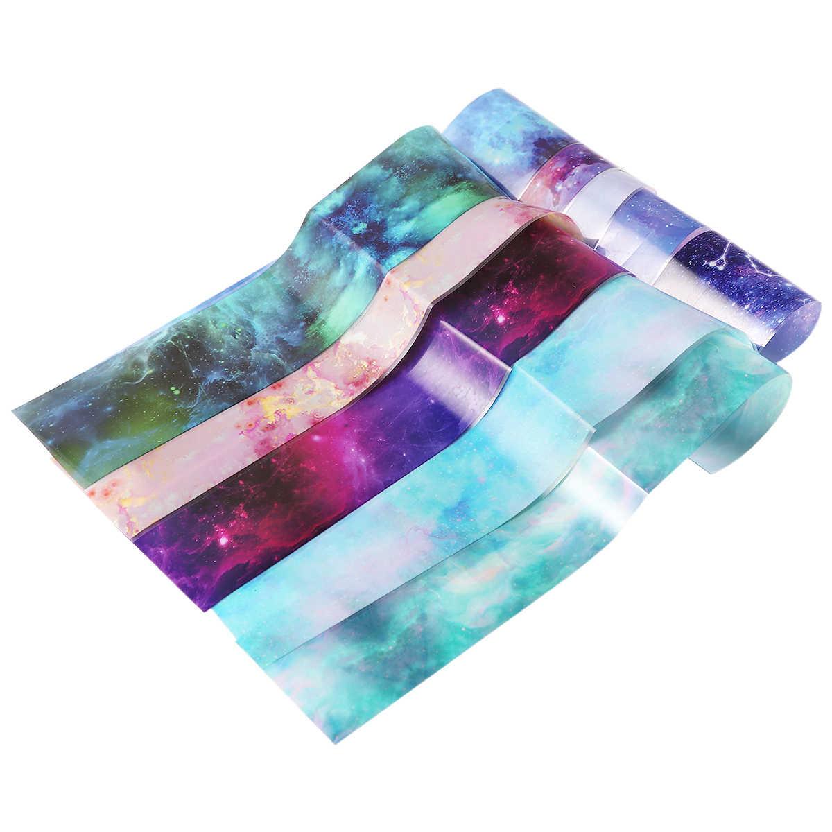 10 ชิ้น/เซ็ตเล็บ Foils สติกเกอร์เล็บ Marble Shining Stone Designs สติกเกอร์ Starry Sky กาว Wraps Decals