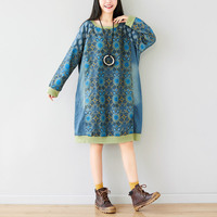 Casual Extra Loose Pullovers Big Size print Sweatshirt Dress O Neck Vintage Robe Knitted Japanese Harajuku Maxi Baggy Tops