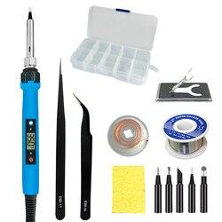 Soldador de 80W puntas de hierro para soldar temperatura ajustable, herramientas de reparación de soldadura, calentador de cerámica, caja de plástico kit de pistola para soldar