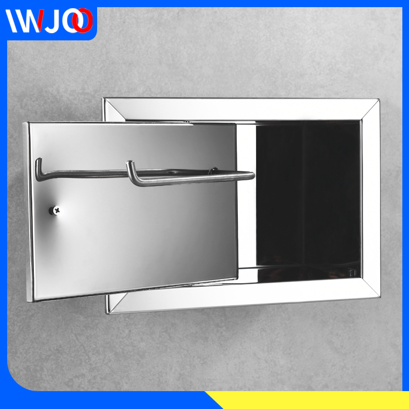 Toilet Paper Holder Stainless Steel Concealed Bathroom Toilet Roll Paper Holder Creative Tissue Box In Wall Paper Towel Holder