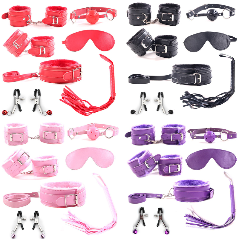7 Pcs/set Erotic Toys Adult Games BDSM Sex Bondage Set Handcuffs Nipple Clamps Gag Whip Sex Toys For Woman Couples Accessories