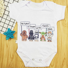 Star Wars The Force is Strong With This One Short Sleeve Newborn Baby Girl Jumpsuit Soft Fashion Summer Baby Clothes Boy Rompers