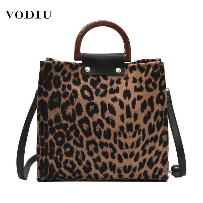 Bag Womens Luxury Handbags Shoulder 2019 Fashion Canvas Leopard Print Wooden Portable Purses Big Capacity Shopping Women's Bags