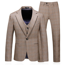 Mens suit Groom Tuxedos Brown Prom Wedding Men Suit Slim Fit Cotton Blend Formal For 3pcs(Jacket+Pants+Vest)
