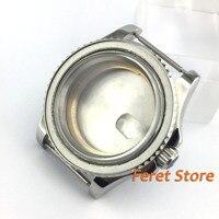 40mm vidro de safira polonês aço bidirecional assista caso ajuste eta 2836 mingzhu 2813 dg movimento relógio Kits e ferramentas de reparo     -