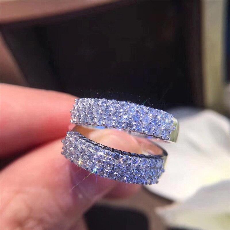 Choucong éternité promesse anneau pavé AAAAA cz pierre 925 en argent Sterling fiançailles bague de mariage anneaux pour femmes hommes bijoux de fête - 2