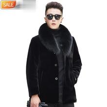 Winter Jacket Coat Real-Sheep-Shearing Natural-Wool Mens Luxury Fur ND743 Fox-Collar