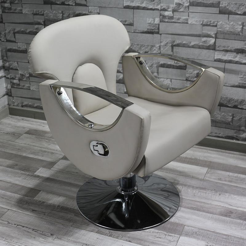 Nordic Fashion Barber Shop Chair Net Red Chair Stainless Steel Handrail Modern Minimalist Can Put Down The Hair Salon Chair