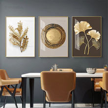 Постер с золотыми листьями Абстрактная Картина на холсте современная