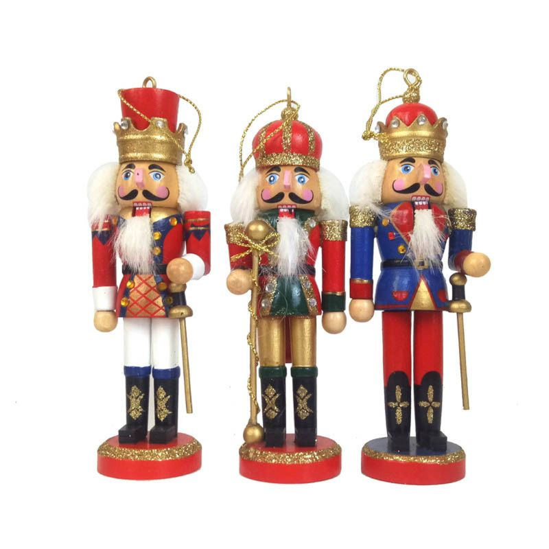 1PC Wooden Nutcracker Doll Soldier Miniature Figurines Vintage Handcraft Puppet New Year Christmas Ornaments Home Decor