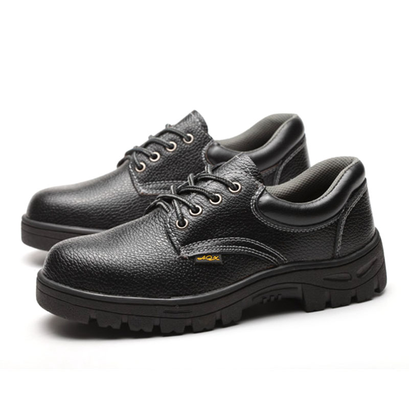 1 Pair Black Breathable Waterproof Anti-slip Safety Labor Insurance Shoes with Steel Toe Cap Workplace Security Boots for Men image