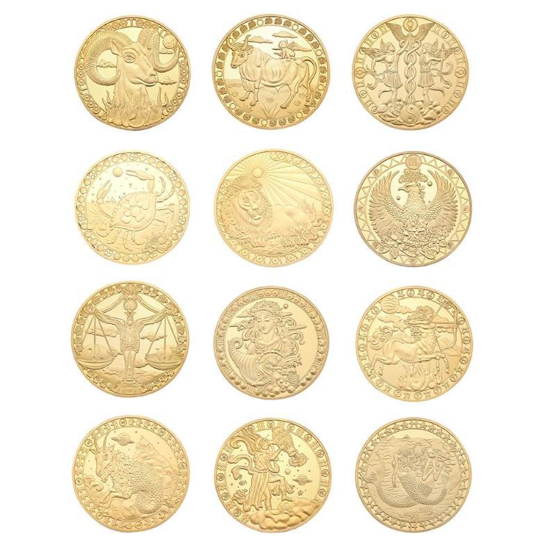 12 pièces de Constellation à collectionner, pièces commémoratives physiques à collectionner, plaqué or, cadeau