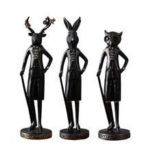 Nordic Gentle Animal Charater Sculpture Figurine Creative Resin Modern Art Figurine Ornament Home Decoration Accessories
