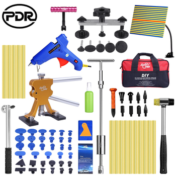 PDR Tools Paintless Dent Repair Tool Car Dent Removal Set Reflector Board Slide Hammer Glue Tabs Fungi Suction Cups tools bag
