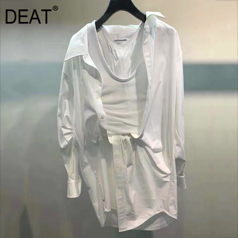DEAT 2020 New Summer Fashion Women Clothing Turn-down Collar Full Sleeves Pleated Cotton Straps Shirt Dress Female Two Pieces