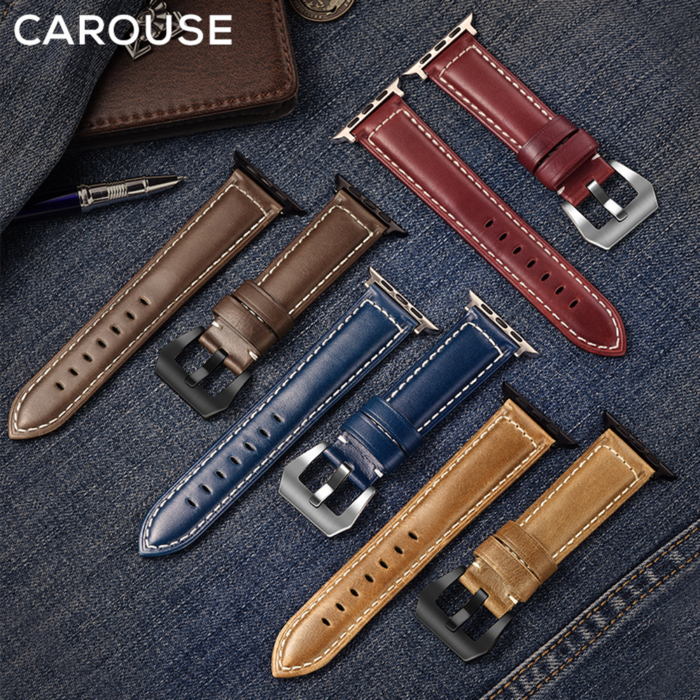 Carouse Oil Wax Leather Handmade For Apple Watch Band Series 5/4/3/2 38mm 42mm For Apple Watch Strap IWatch 44mm 40mm Watchband