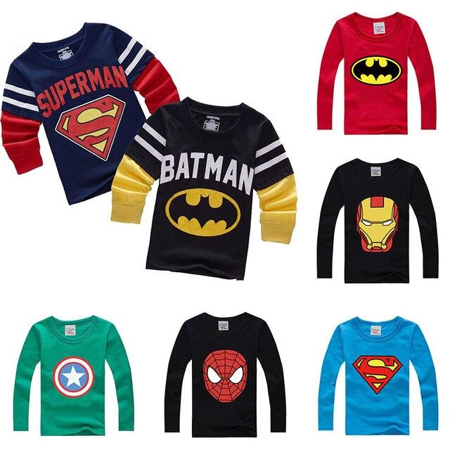ซูเปอร์ฮีโร่การ์ตูนเสื้อผ้าเด็กเสื้อแขนยาวเด็กเสื้อฝ้ายเสื้อ SLIM FIT TEE Ropa Bebe TShirt Camiseta เสื้อผ้าเด็ก