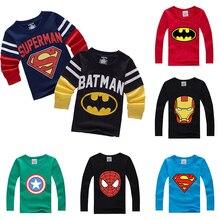 Batman Superman karikatür çocuklar uzun kollu erkek T Shirt pamuklu üst giyim Slim Fit Tee Ropa Bebe Tshirt sonbahar Camiseta çocuk giysileri