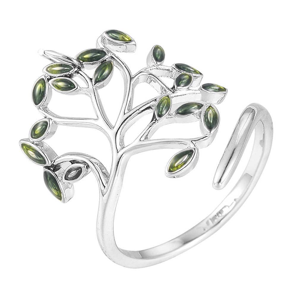 ใหม่แฟชั่นผู้หญิงแหวนหมั้นแหวนเงินแหวน Peridot สีเขียวแหวนเปิดหญิงสาวง่ายเครื่องประดับ