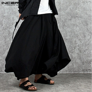 INCERUN Mens Fashion Wide Legs Pants Loose Drawstring Trousers Men Baggy Cropped Pants Vintage Solid Crotch Trousers Streetwear7
