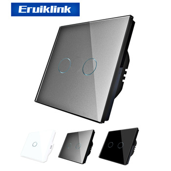 Eruiklink EU/UK Standard  AC 110V-250V Light Switchs, Wall Switch,Crystal Glass panel Touch Wall Light Switch uk standard pearl crystal glass panel timer delay switch ac 220 250v vl c301t 61 digital touch timer control home light switch