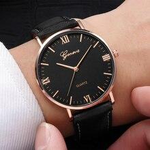 цена Fashion Large Dial Military Quartz Men Watch Leather Sport Watches Classic Clock Wristwatch Relogio Masculino  mens watches онлайн в 2017 году