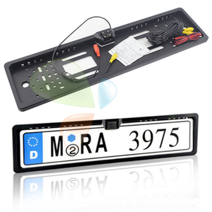 Image 2 - 4 LED Light Reverse Camera European License Plate Frame Car Rear View Camera Waterproof Night Vision Reverse Backup Camera New