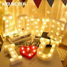 DIY 26 English Letter LED Night Light Marquee Sign Alphabet 3D Wall Hanging Night Letter Light Home Wedding Birthday Party Decor