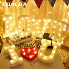 DIY 26 angielska litera LED lampka nocna Marquee znak alfabet 3D ściany wiszące noc list światła domu ślub dekoracje na przyjęcie urodzinowe