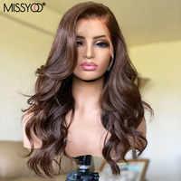 Pelucas de cabello humano ondulado de cuerpo marrón 4x4, peluca con cierre de encaje con pelo de bebé para mujer, cabello brasileño Remy de color 13x1, peluca con malla frontal