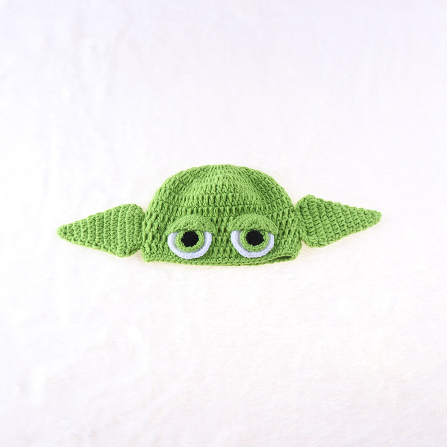 Yoda Style Newborn Infant Baby Photography Prop Crochet Knit Costume Set Handmade Toddler Cap Outfits for Baby Shower Gift (10)
