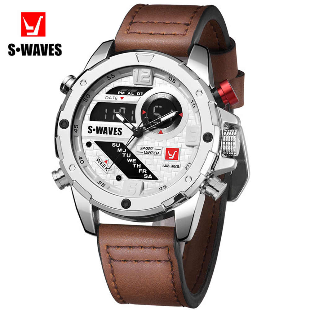 SWAVES Fashion Watches Mens 2019 Waterproof Dual Display Wrist Watch Men Unique Sports Quartz Alarm Clock Leather Reloj Hombre