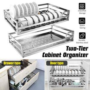 Basket Organizer Slide-Cabinet Pull-Out-Storage Rack Kitchen Stainless-Steel Drawer 2-Tier
