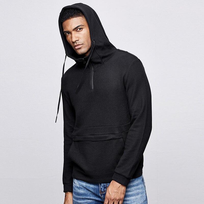 KUEGOU 2019 Herbst Baumwolle Solid Black Hoodie Männer Mode Hoody Hip Hop Japanischen Streetwear Männlichen Klar Hoodies Sweatshirts 1517-in Hoodies & Sweatshirts aus Herrenbekleidung bei  Gruppe 2