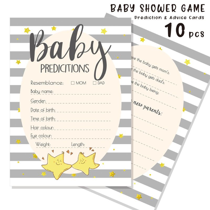 Advice And Prediction Cards For Baby Shower Game New Parent Message Advice Book G99C