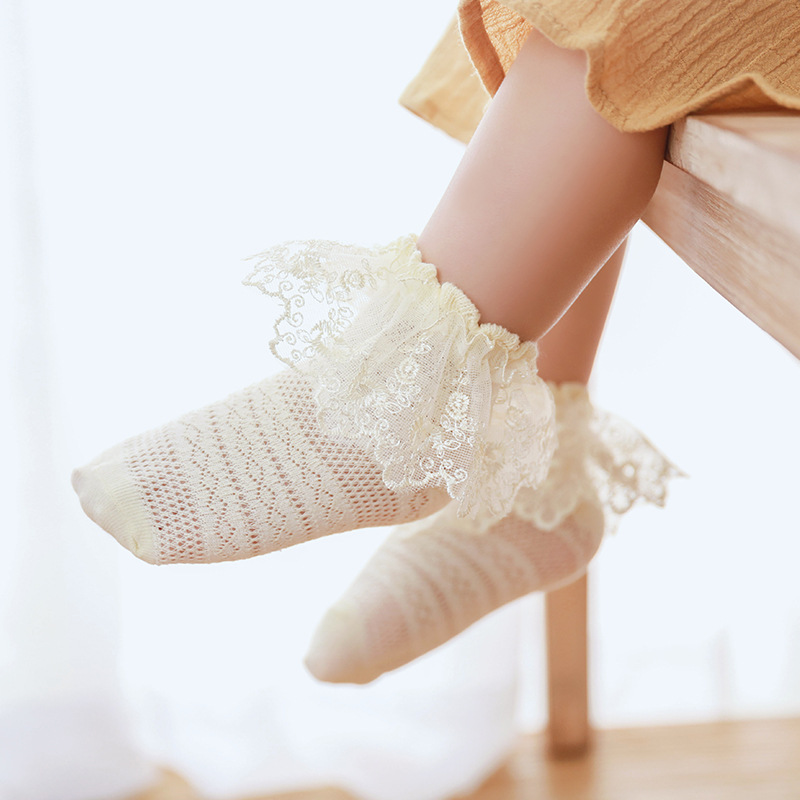 0-5 Years Toddler Baby Child Girls Ruffle Lace Ankle Cotton Dress Socks Princess Summer Cotton Eyelet Flower Socks Accessories