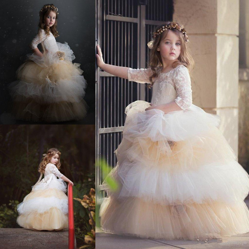 Modest Lovebaby Flower Girl Dress Jewel Neck Short Length Wedding Party Tulle Ball Gown Lace Applique Tired Princess Girl Dress