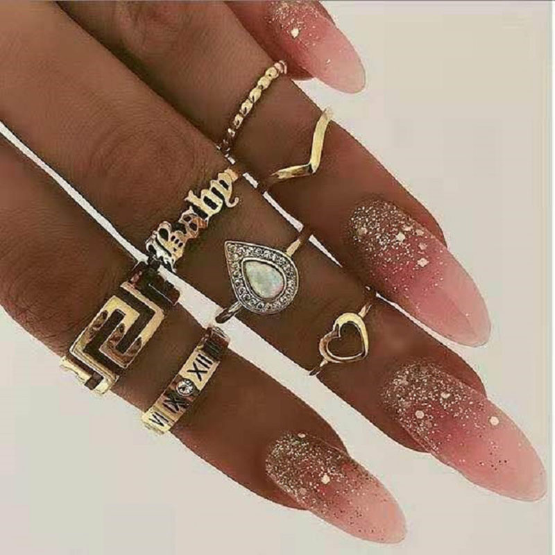 Modyle 2019 NEW FASHION Women Bohemian Vintage Gold Crystal Stack Rings Above Knuckle Rings Set Luxury Free shipping image