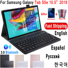 Etui na Samsung Galaxy Tab S5e 10.5 etui na klawiaturę T720 T725 SM T720 okładka rosyjska hiszpańska angielska klawiatura Bluetooth Funda Case