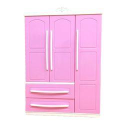 Трехдверный розовый современный гардероб, игровой набор для кукол, мебель, можно положить обувь, аксессуары для одежды с туалетным зеркалом...