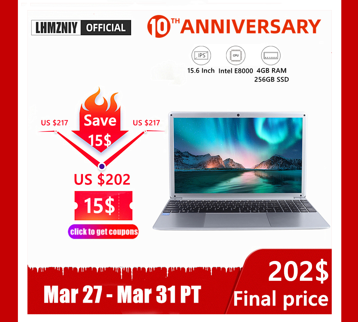 LHMZNIY RX-5 Student Laptop 15.6 Inch FHD IPS Screen Intel E8000 4GB RAM 256GB M.2 SSD Netbook 1080P