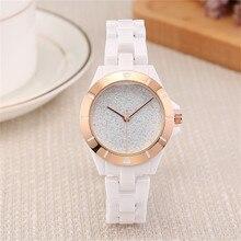Digu Reloj de pulsera deportivo para mujer, de cerámica blanca de lujo, resistente al agua, clásico, fácil de leer