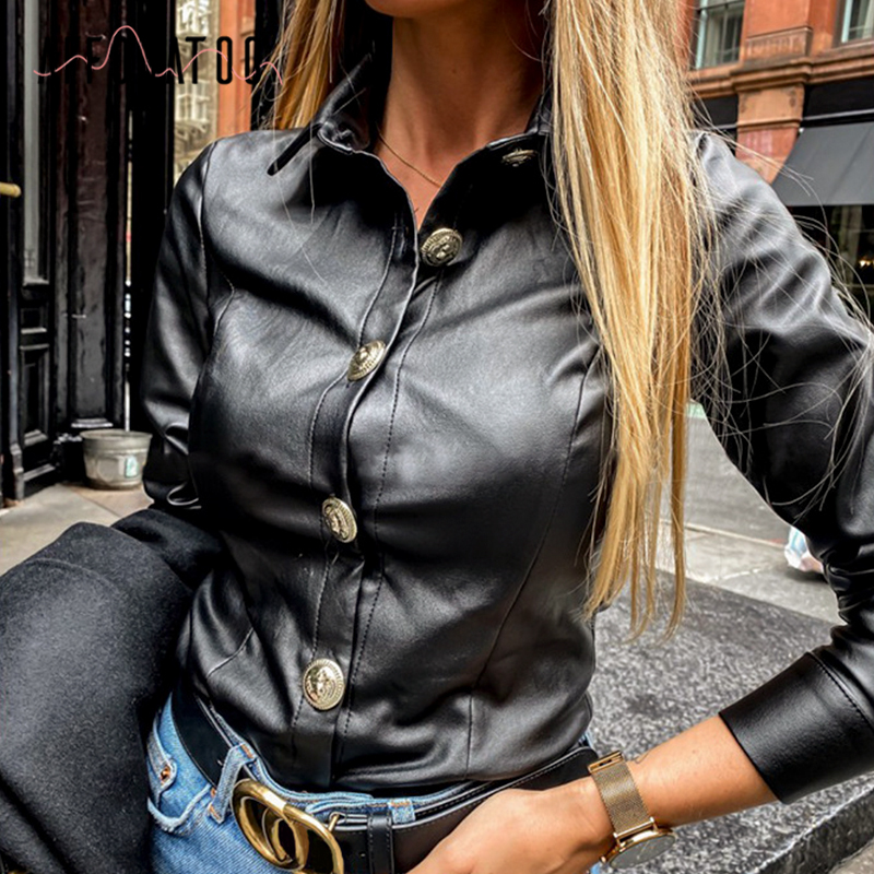 Affogatoo Vintage Long Sleeve Women Blouse Shirt Casual Turn-down Collar Black Blouse Shirt Office Lady Button Pu Leather Blouse